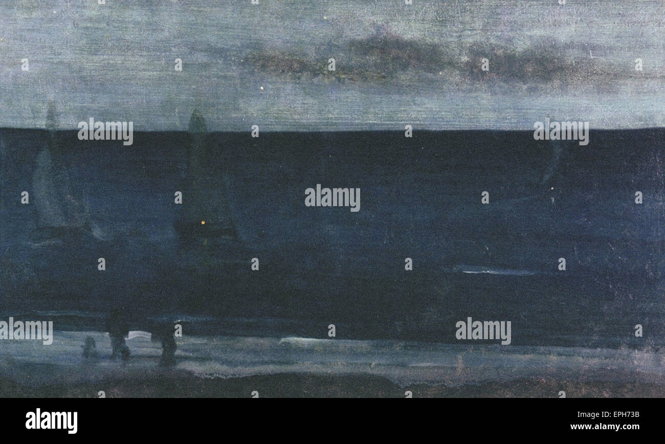 James Abbott McNeill Whistler  Nocturne - Blue and Silver - Stock Image