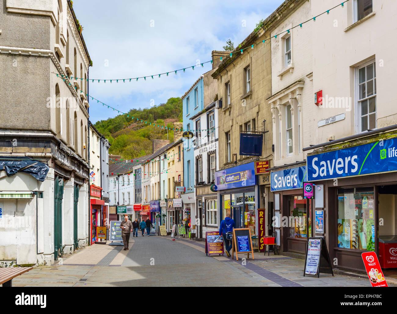 High Street in Bangor, Gwynedd, Wales, UK - Stock Image