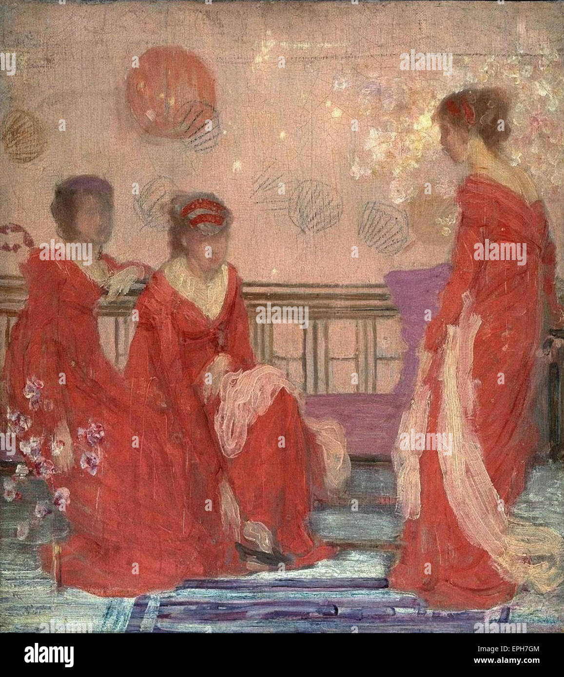 James Abbott McNeill Whistler  Harmony in Flesh Colour and Red - Stock Image