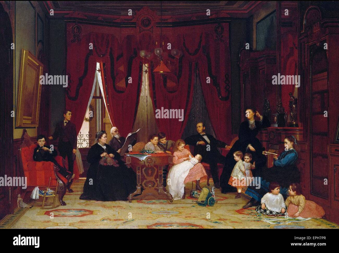 Eastman Johnson  The Hatch Family - Stock Image