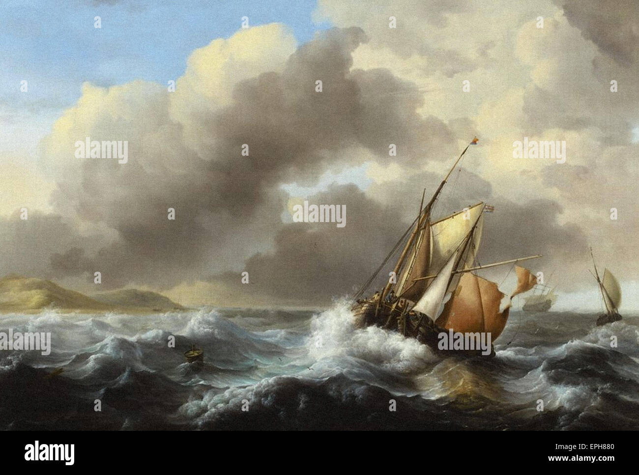 Ludolph Bakhuysen  Fishing Vessels Offshore in a Heavy Sea - Stock Image