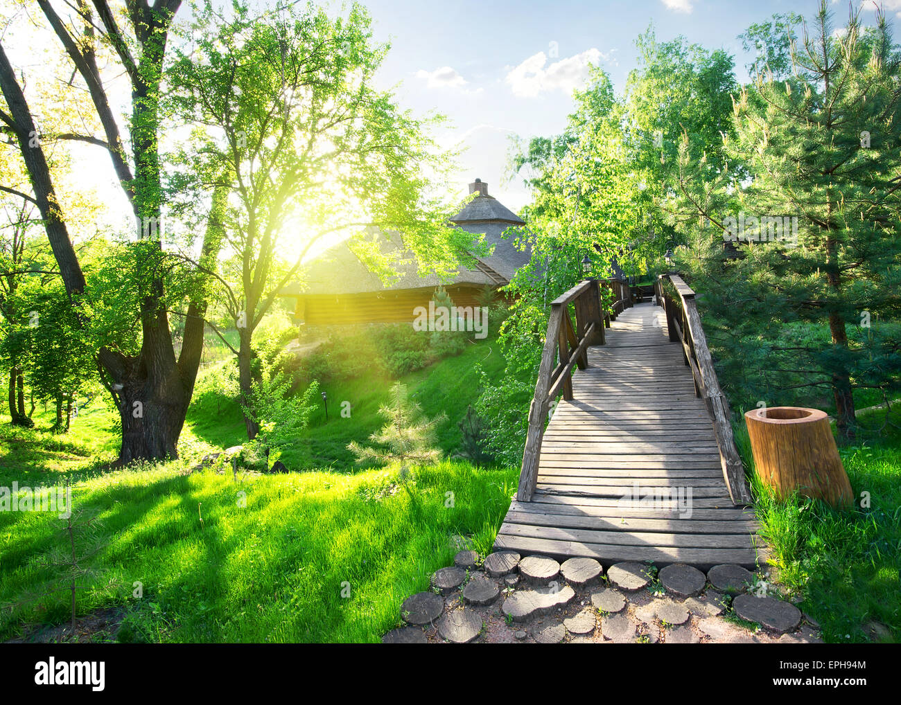 House of log and bridge in green park - Stock Image