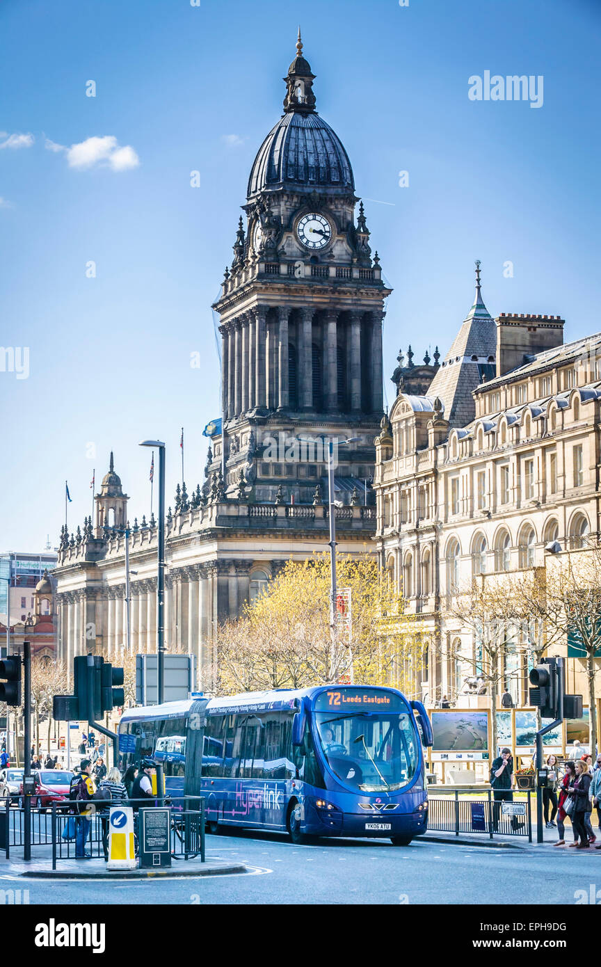 72 Bendy Bus, Headrow Leeds West Yorkshire by the Museum and City Library with Town Hall in Back Ground - Stock Image