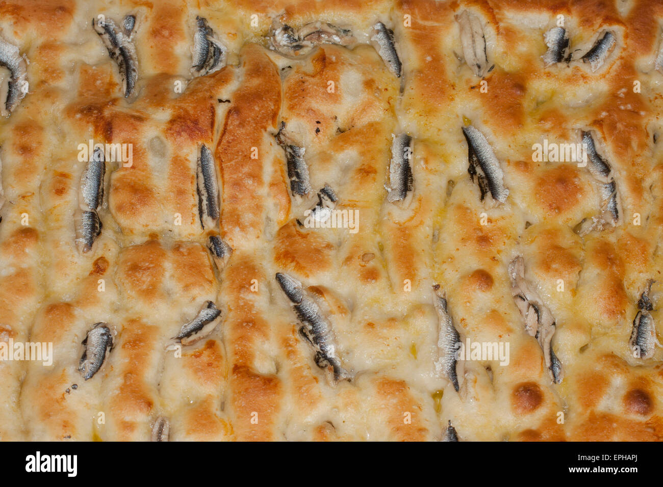 focaccia with anchovies, new type of ligurian focaccia, italian typical food - Stock Image