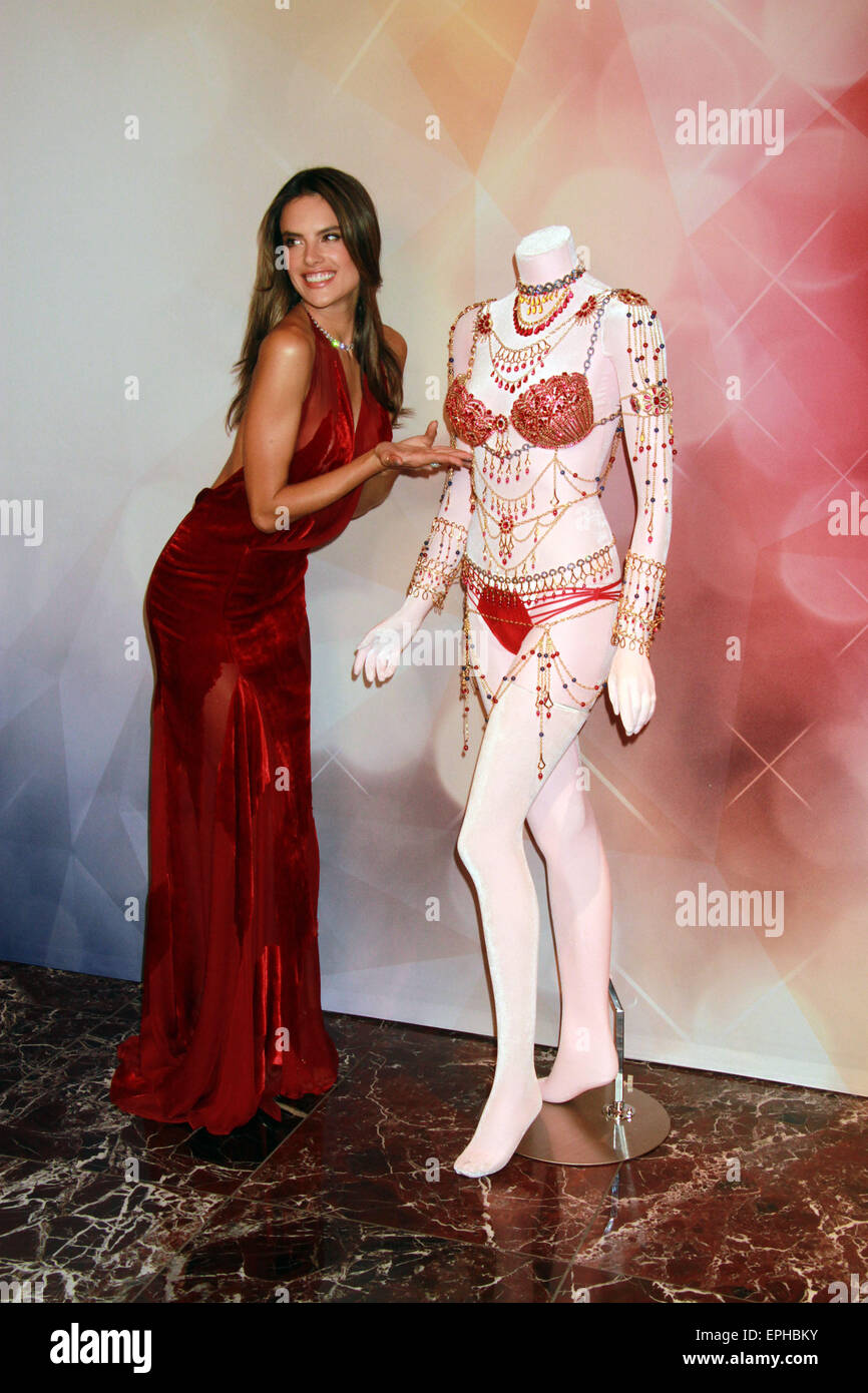 9e180ee1b901c Adriana Lima and Alessandra Ambrosio showcase  2 Million Fantasy Bra at Victoria  Secret store inside Fashion Show Mall in Las Vegas Featuring  Alessandra ...