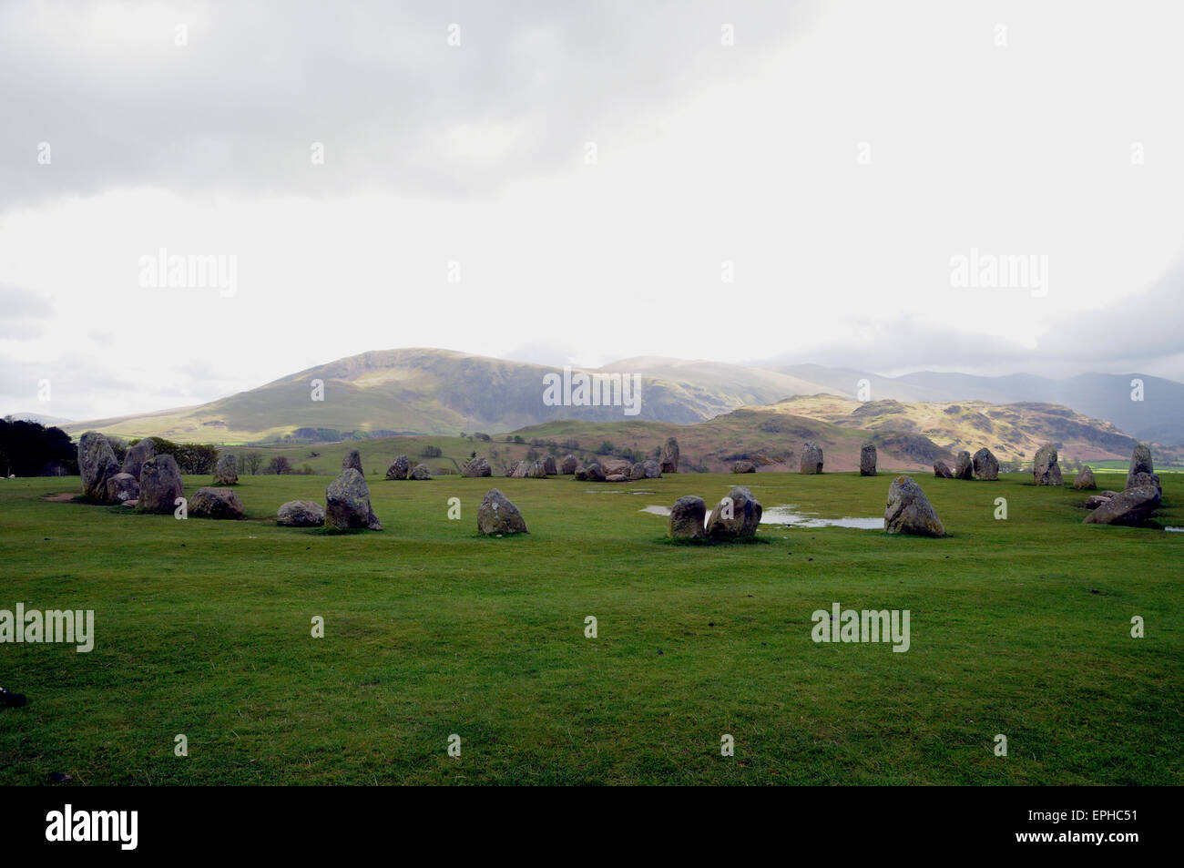 Castlerigg stone circle, a neolithic monument near Keswick in the English Lake District pictured here under typically - Stock Image