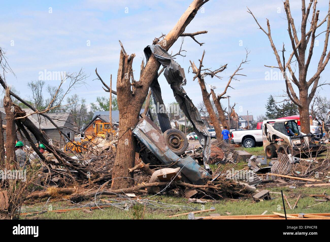Delmont, South Dakota, USA. 17th May, 2015. Residents sift through the wreckage and debris following a EF-2 tornado - Stock Image