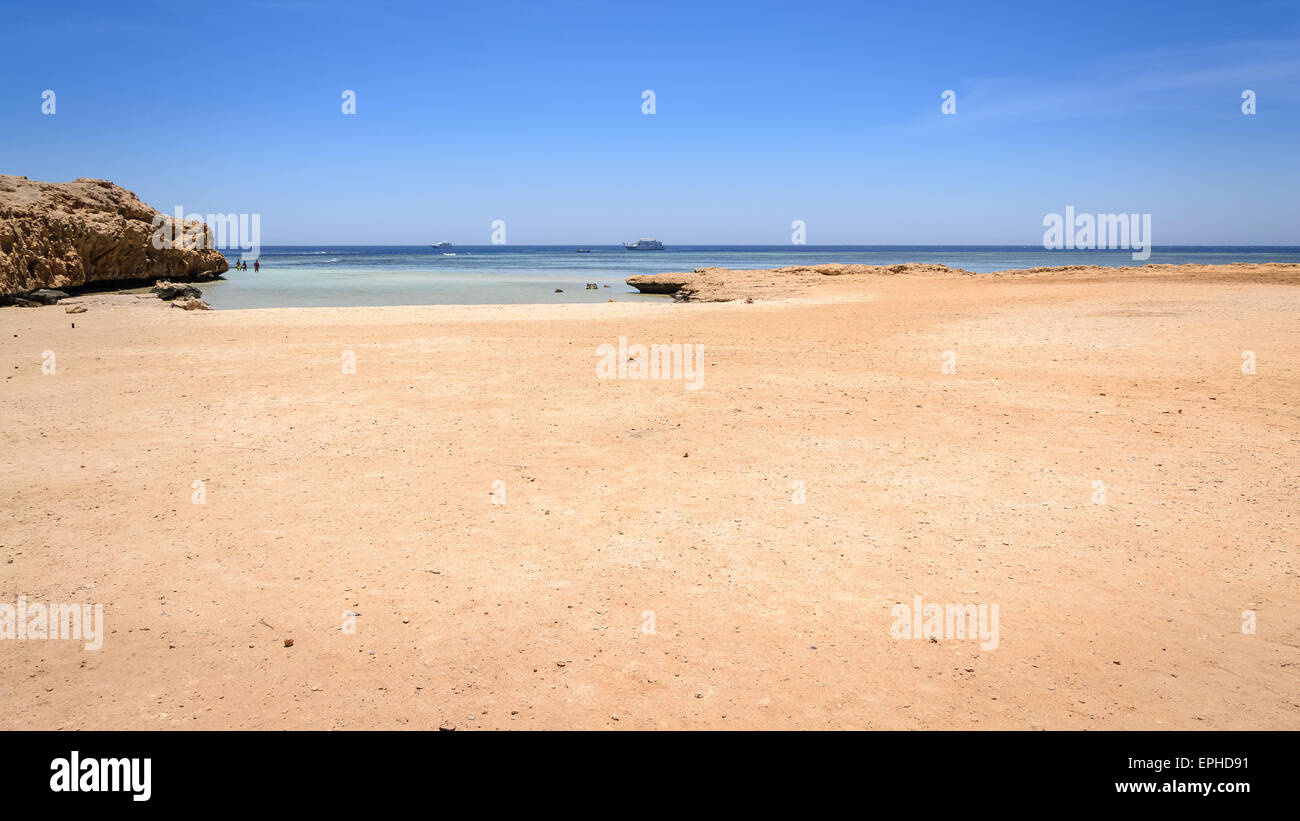 In the picture one of the many beaches of Ras Mohammed National Park where tourists go to snorkeling. - Stock Image