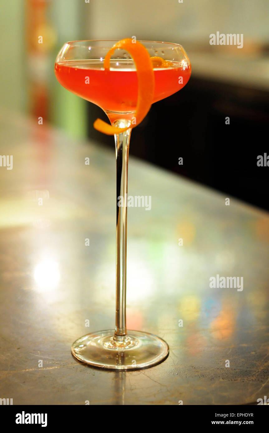Cocktail on a Bar at the Mandarin Oriental Hotel, Knightsbridge, London, England, UK - Stock Image