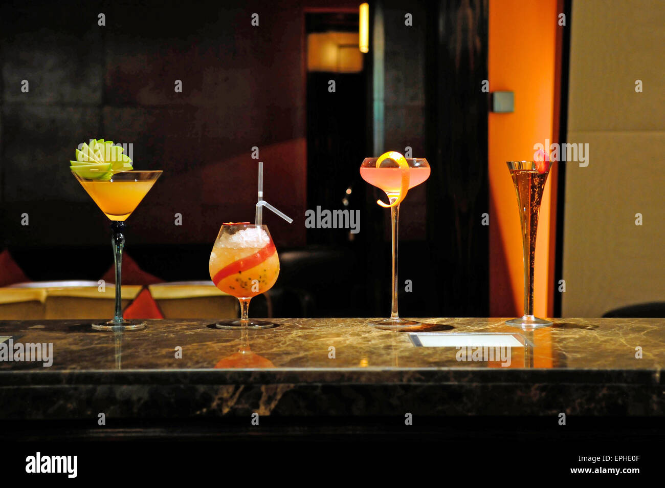 Cocktails on a bar at the Mandarin Oriental Hotel, Knightsbridge, London, England, UK - Stock Image