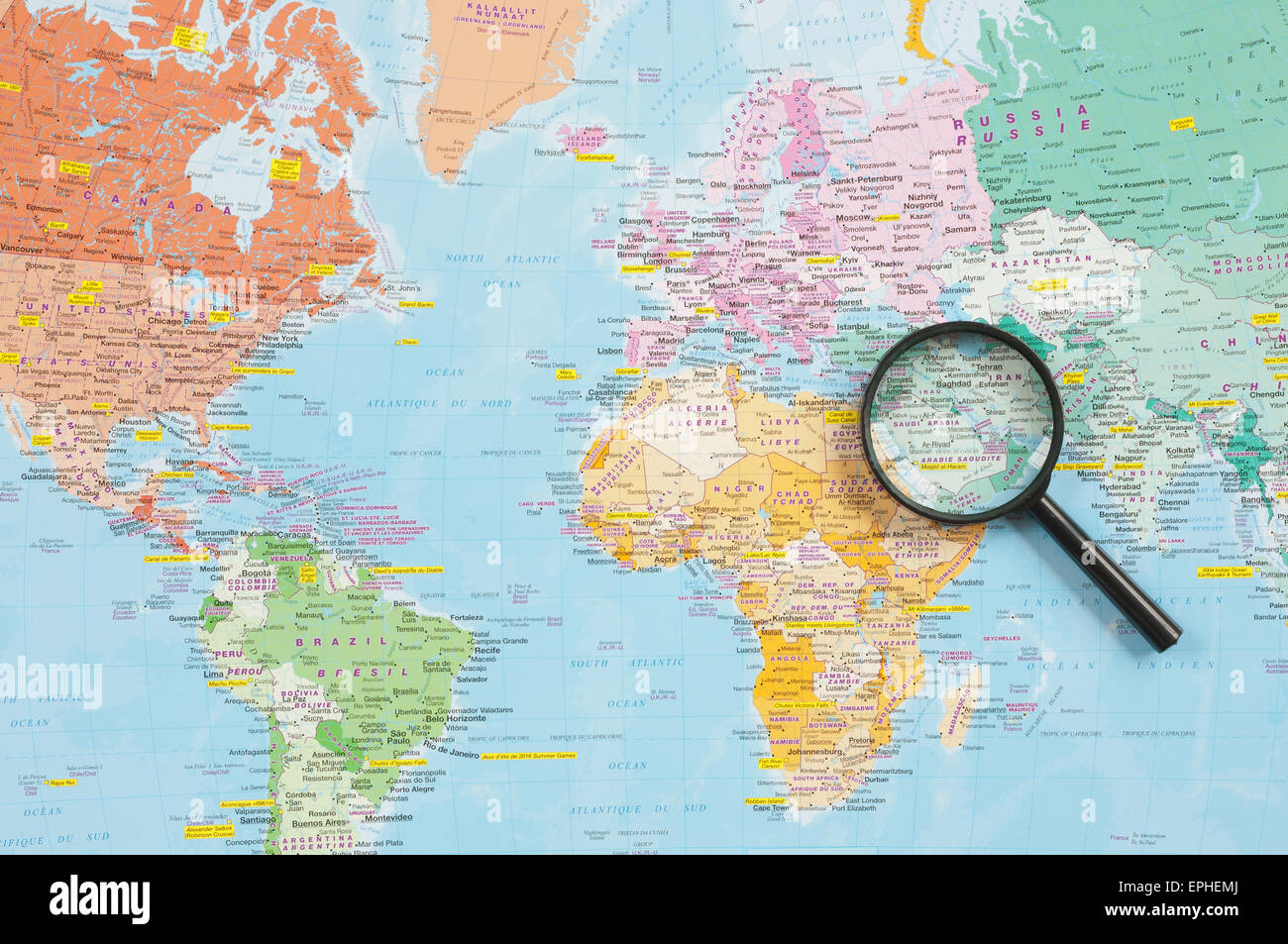 World map and magnifying glass highlighting the middle east region world map and magnifying glass highlighting the middle east region gumiabroncs Gallery