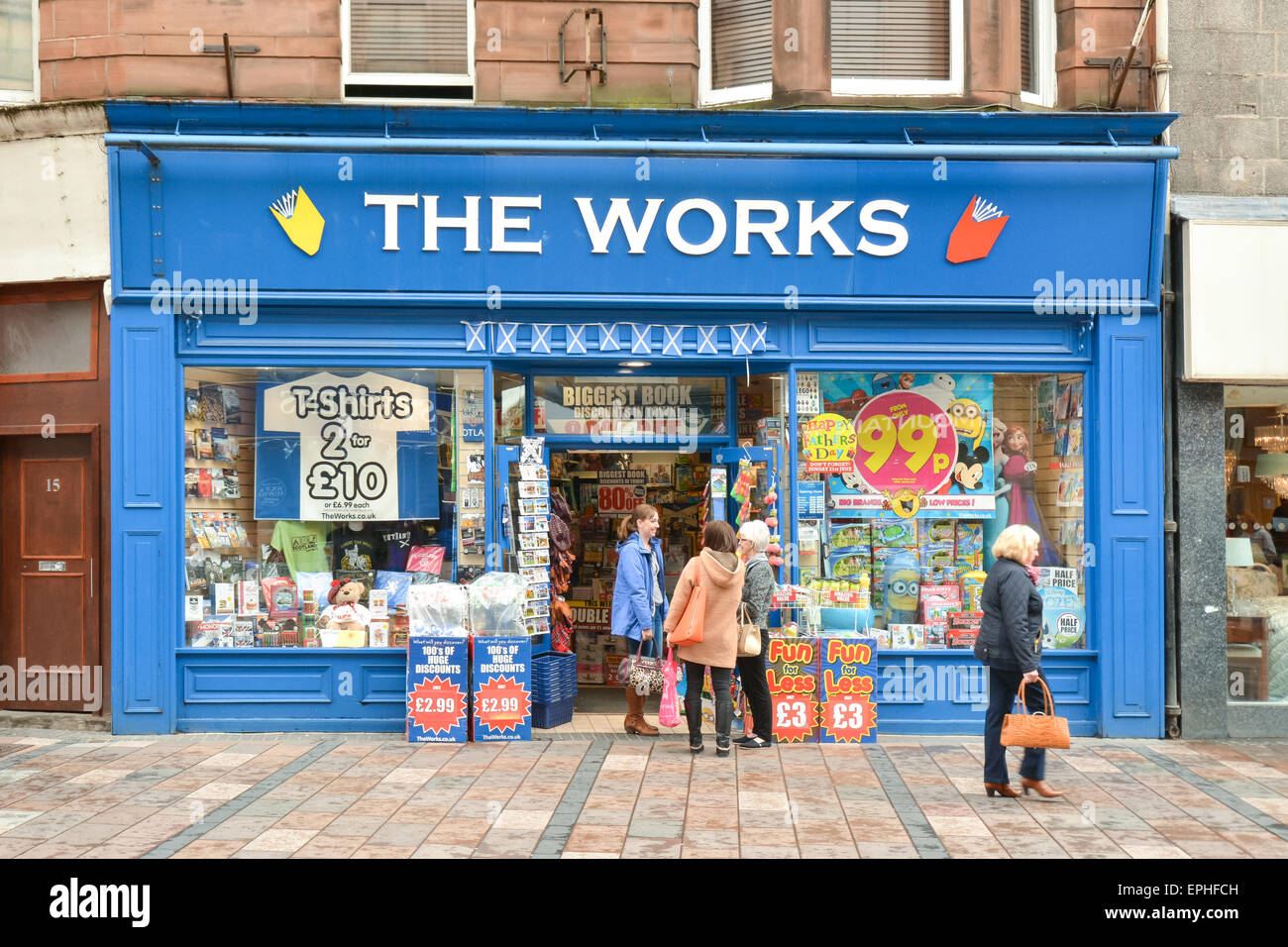 Customers outside The Works discount store, in Stirling City Centre, Scotland, UK - Stock Image