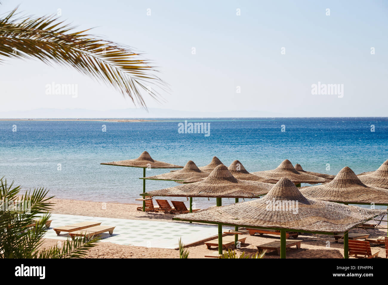Beach, Red Sea, umbrellas, chaise lounges, branches of date palms against the blue sky, lots of sun - Stock Image