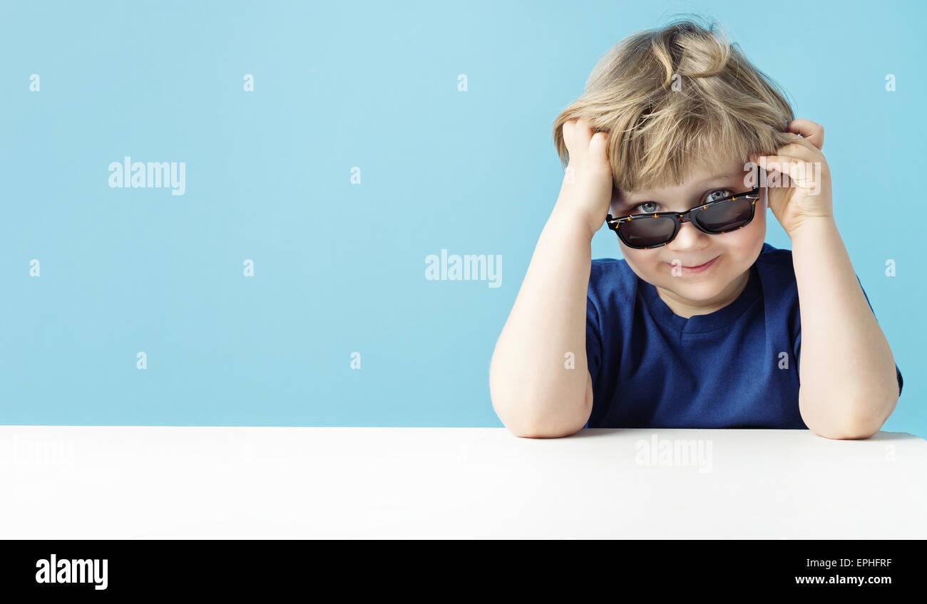 Portrait of a little cute boy - Stock Image