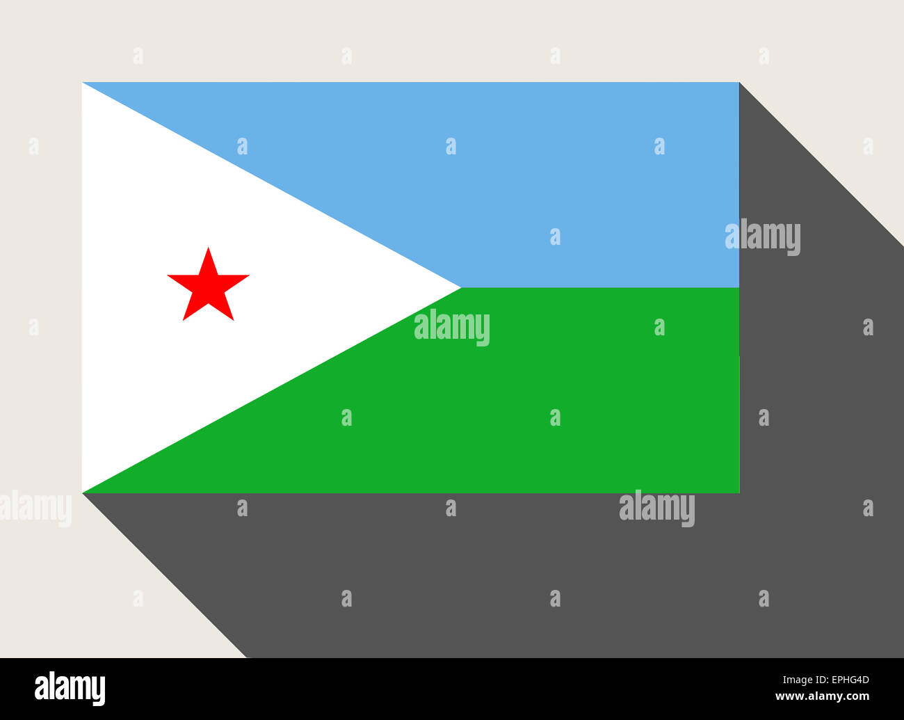 Djibouti flag in flat web design style. Stock Photo