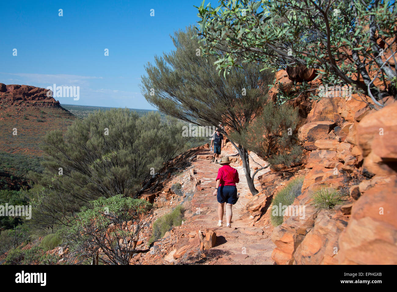 Australia, NT, Watarrka National Park. Kings Canyon, Rim Walk. Challenging 6k hike around the canyon rim. - Stock Image