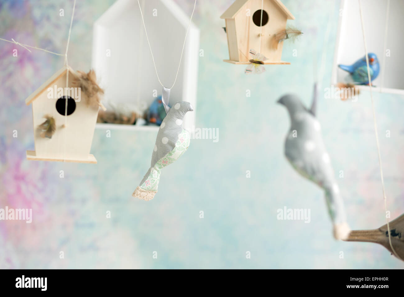 Vintage background with wooden birds - Stock Image
