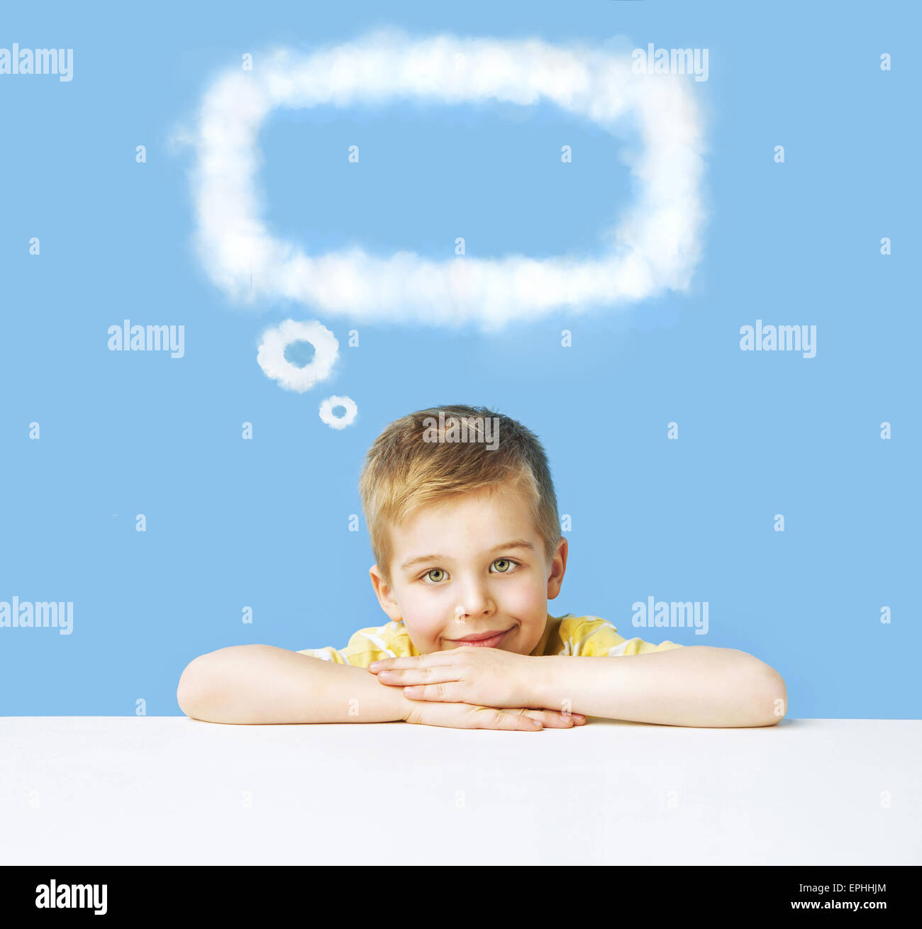 Little boy with an interesting thought - Stock Image