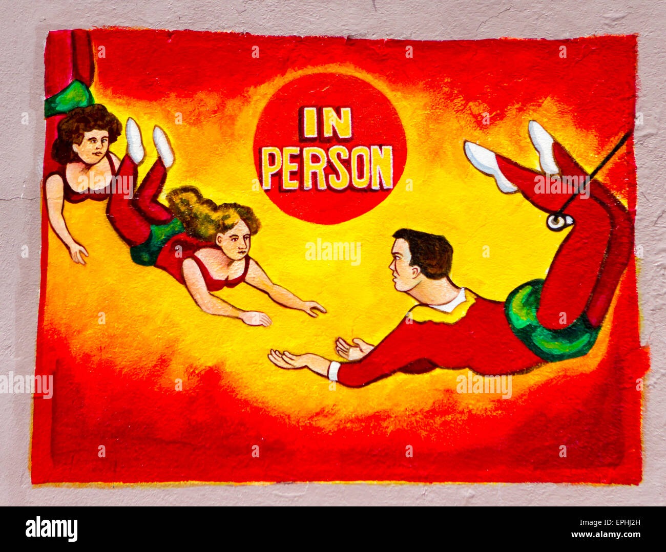 Wall art of circus trapeze artists Stock Photo: 82751273 - Alamy