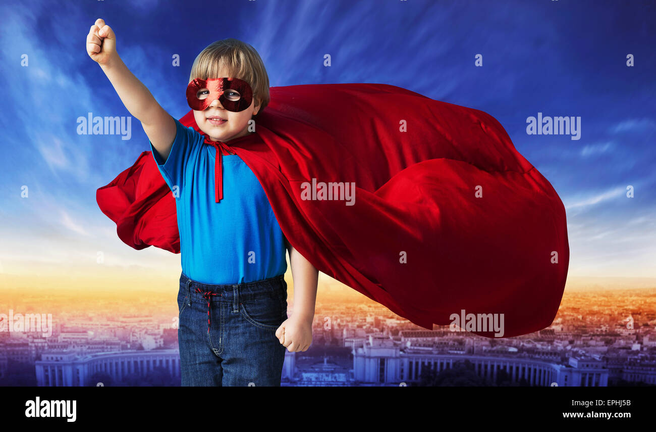 Comic style picture of a little superhero - Stock Image