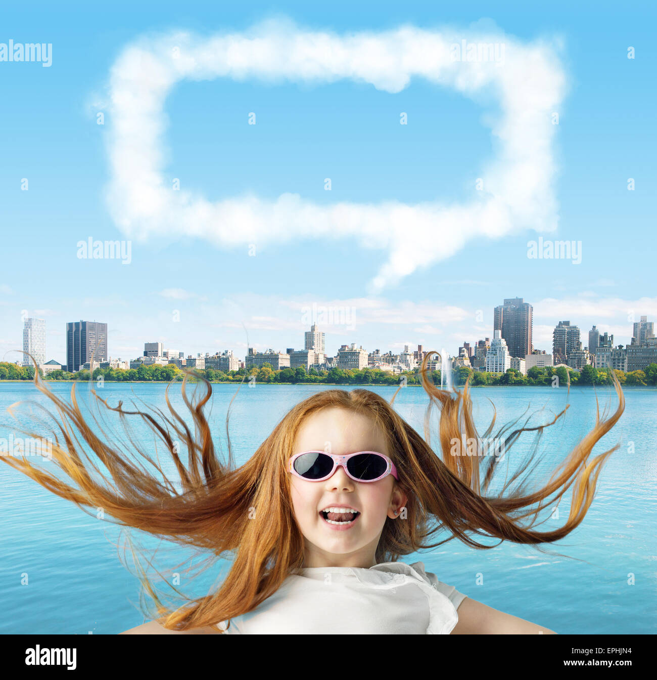 Adorable girl with a sign of dialogue - Stock Image