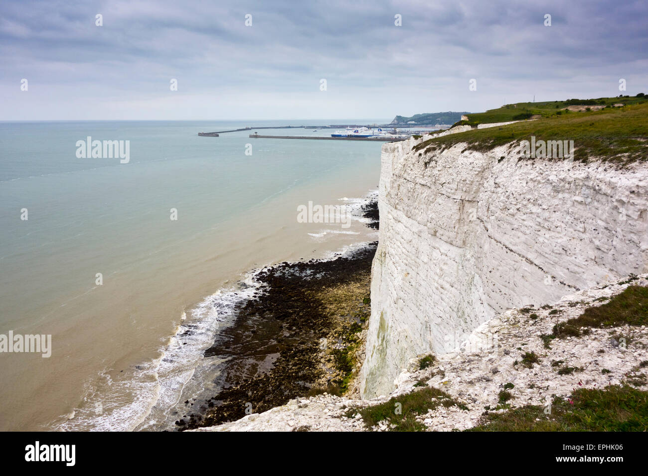 white cliffs Dover South Foreland Coast path footpath coastal - Stock Image