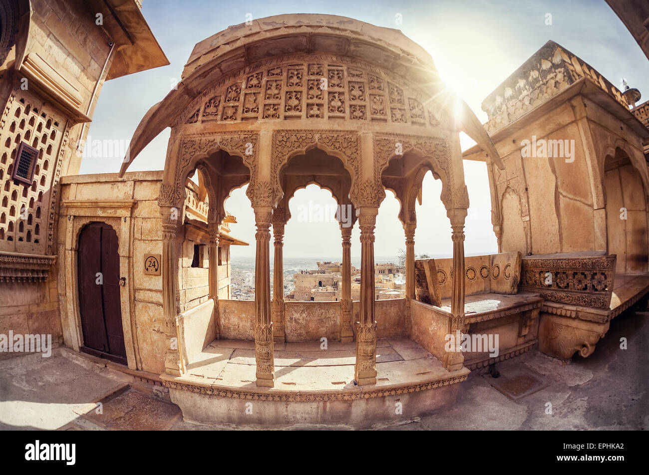 Zenana mahal in City Palace museum of Jaisalmer fort, Rajasthan, India - Stock Image