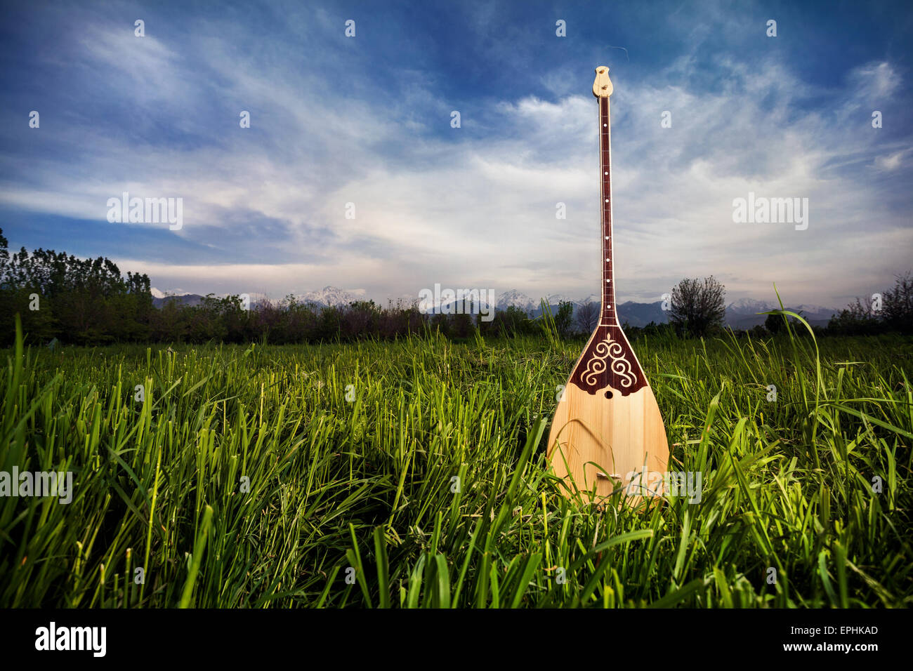 Dombra Kazakh instrument in the grass at blue sky - Stock Image