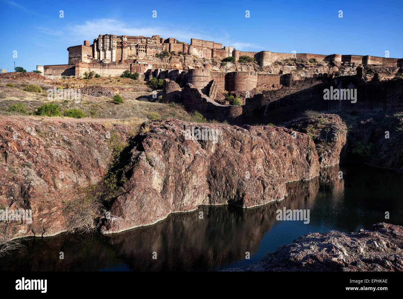 Mehrangarh fort on the hill at blue sky in Jodhpur, Rajasthan, India - Stock Image