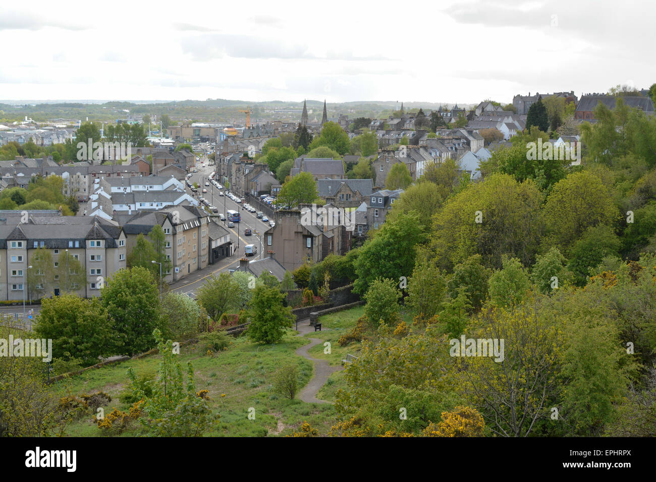 Stirling cityscape looking south from Gowan Hill - Stock Image