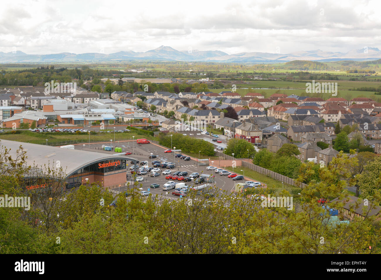 view of Raploch, regeneration - Sainsburys store and Ben Lomond and the Trossachs taken from Gowan Hill, Stirling, - Stock Image