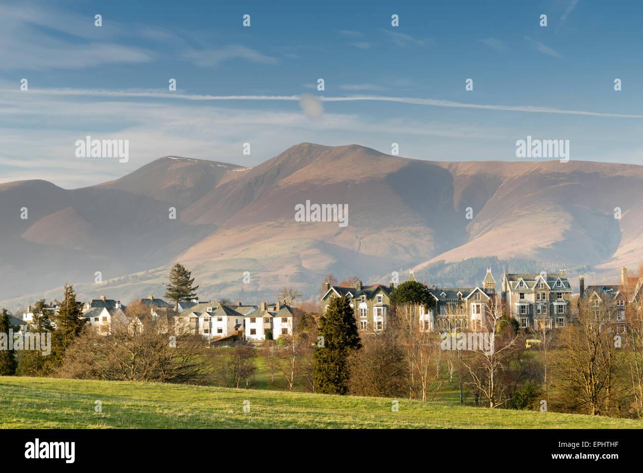 Keswick, Skiddaw at Lake Derwent Water Cumbria, England - Stock Image