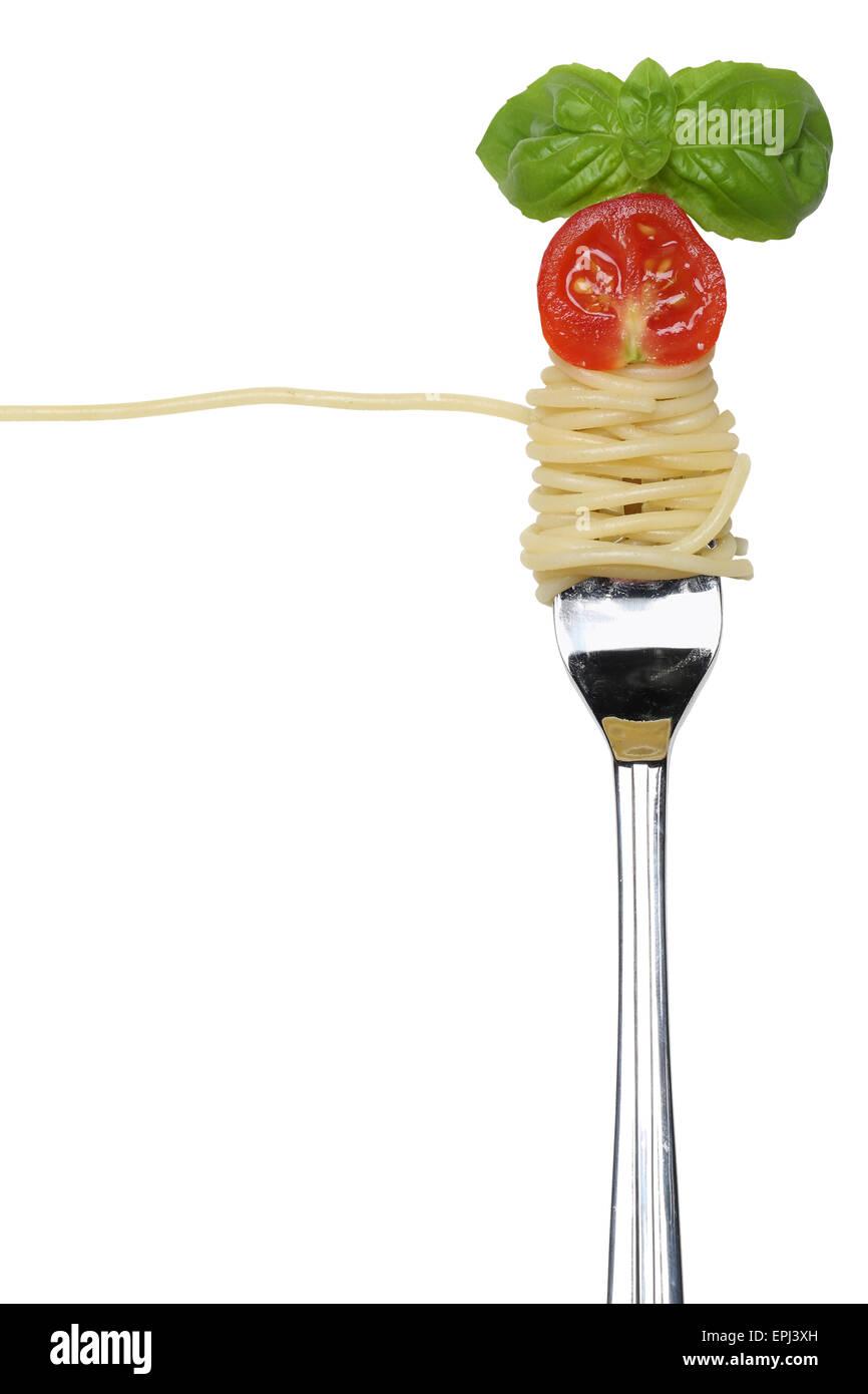 Spaghetti Pasta essen mit einer Gabel Freisteller - Stock Image