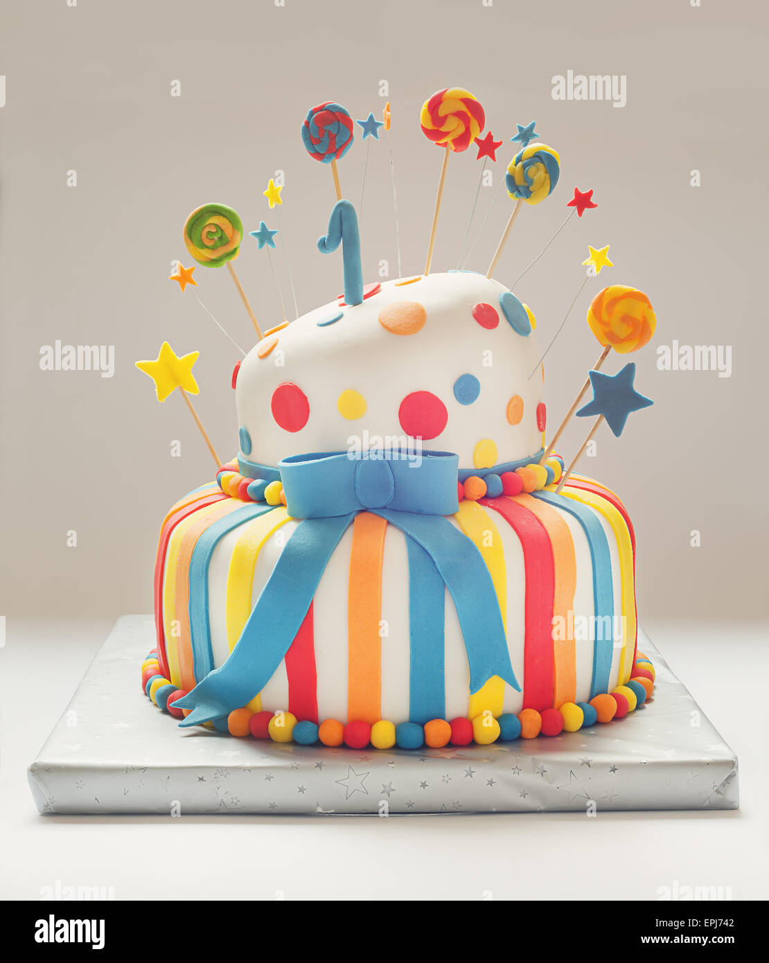 Wondrous Funny Birthday Cake With Number One On Top Sweet Colorful Stock Birthday Cards Printable Benkemecafe Filternl