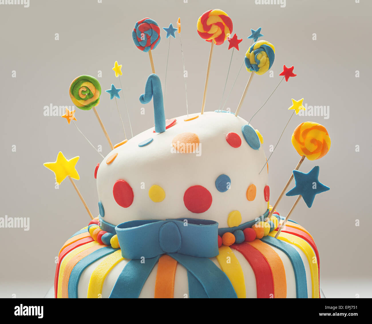 Awe Inspiring Funny Birthday Cake With Number One On Top Sweet Colorful Stock Personalised Birthday Cards Paralily Jamesorg