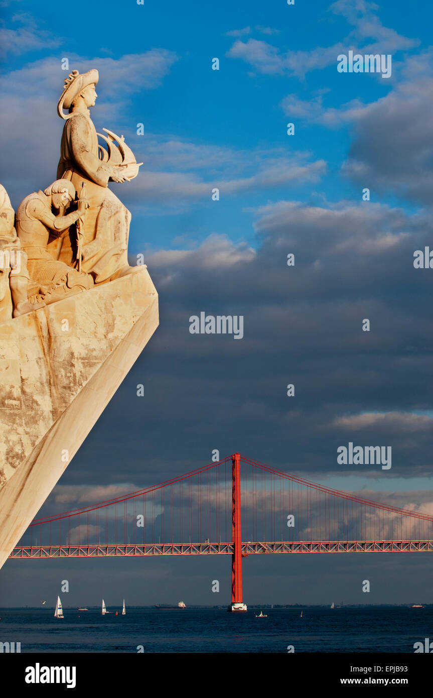 The Discoveries Monument at Belem with the 25th of April bridge in the background. Stock Photo