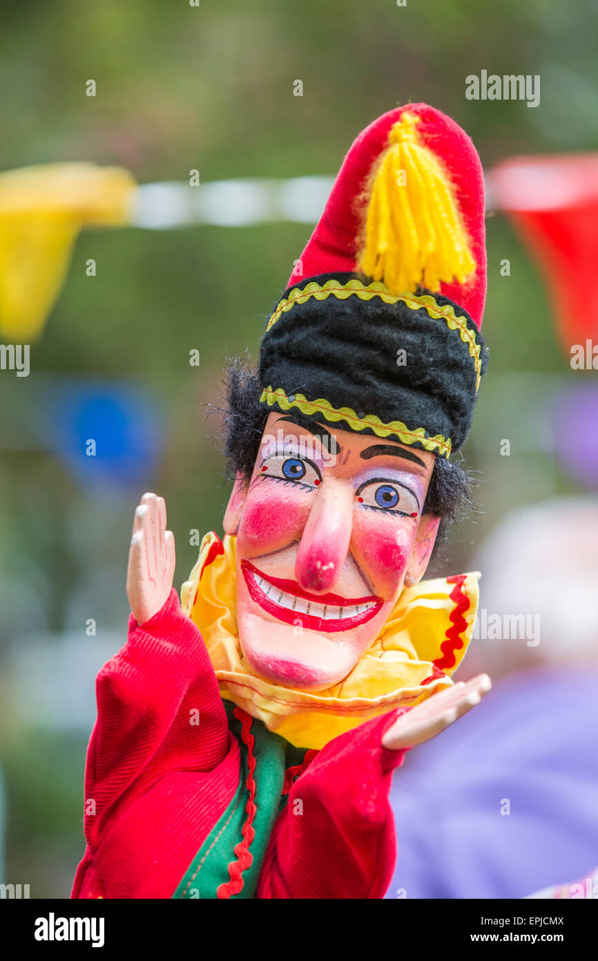 A portrait image of Mr Punch the puppet, Punch and Judy show London England UK - Stock Image