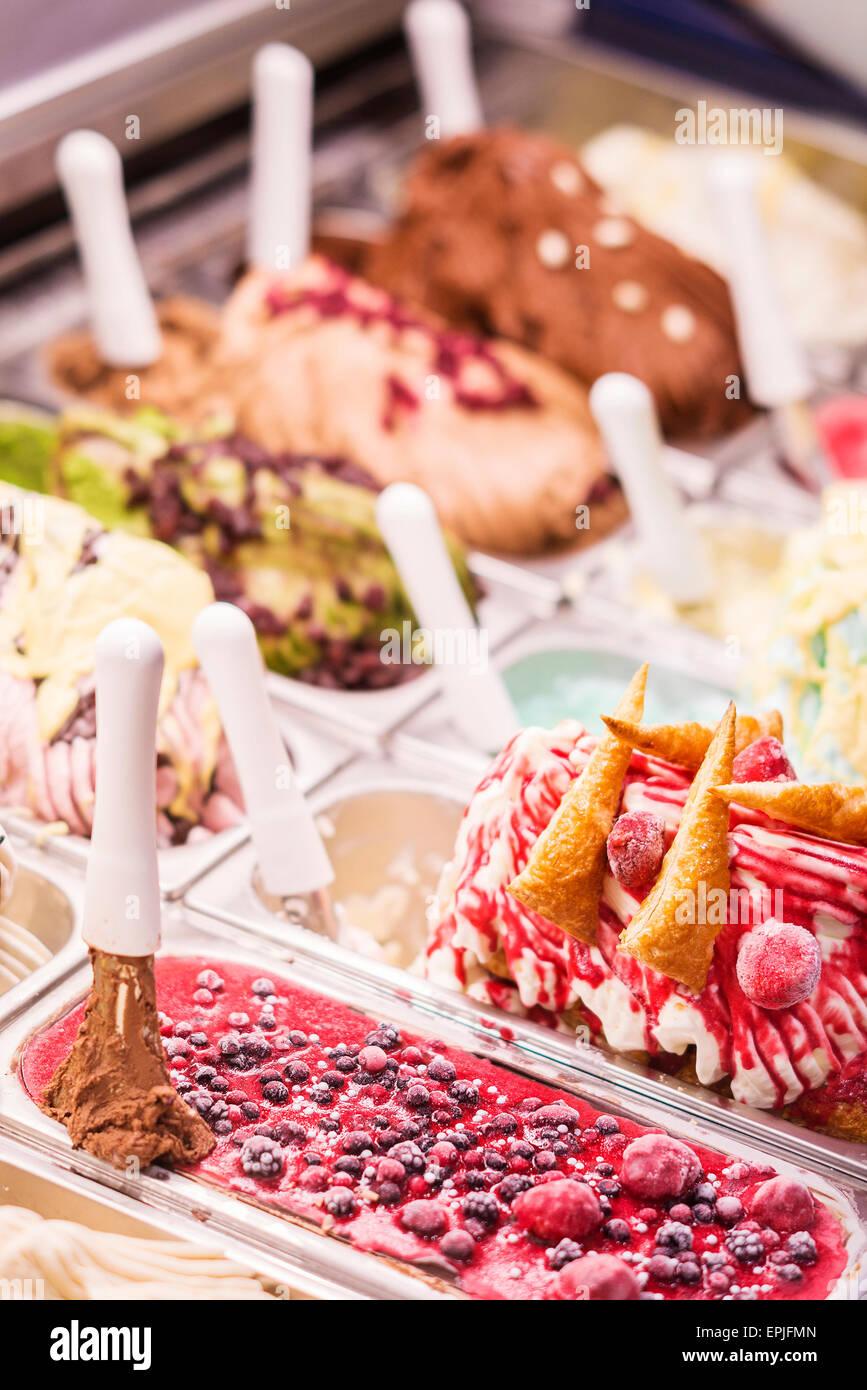 italian gelatto gelato ice cream shop display - Stock Image