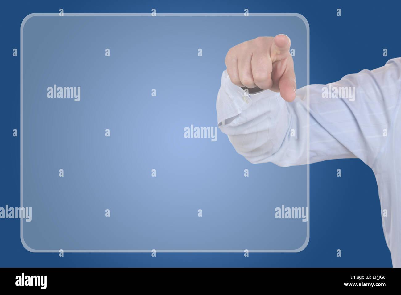 Businessman mit leerem Display Thema Organisation, Business - Stock Image