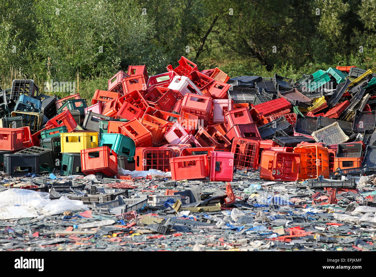 Landfill plastic Stock Photo