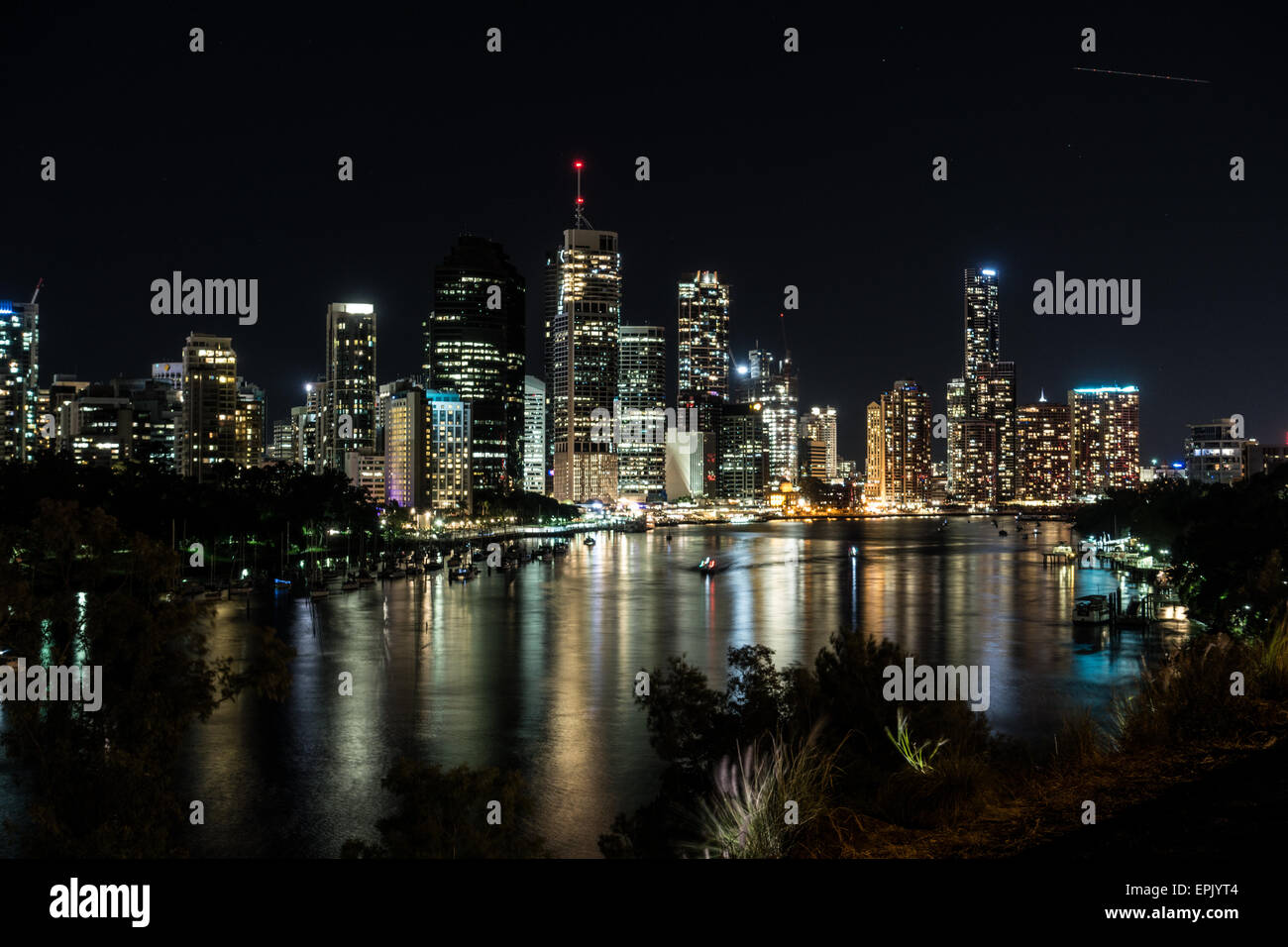 Brisbane City Sky Line from Kangaroo Point - Stock Image