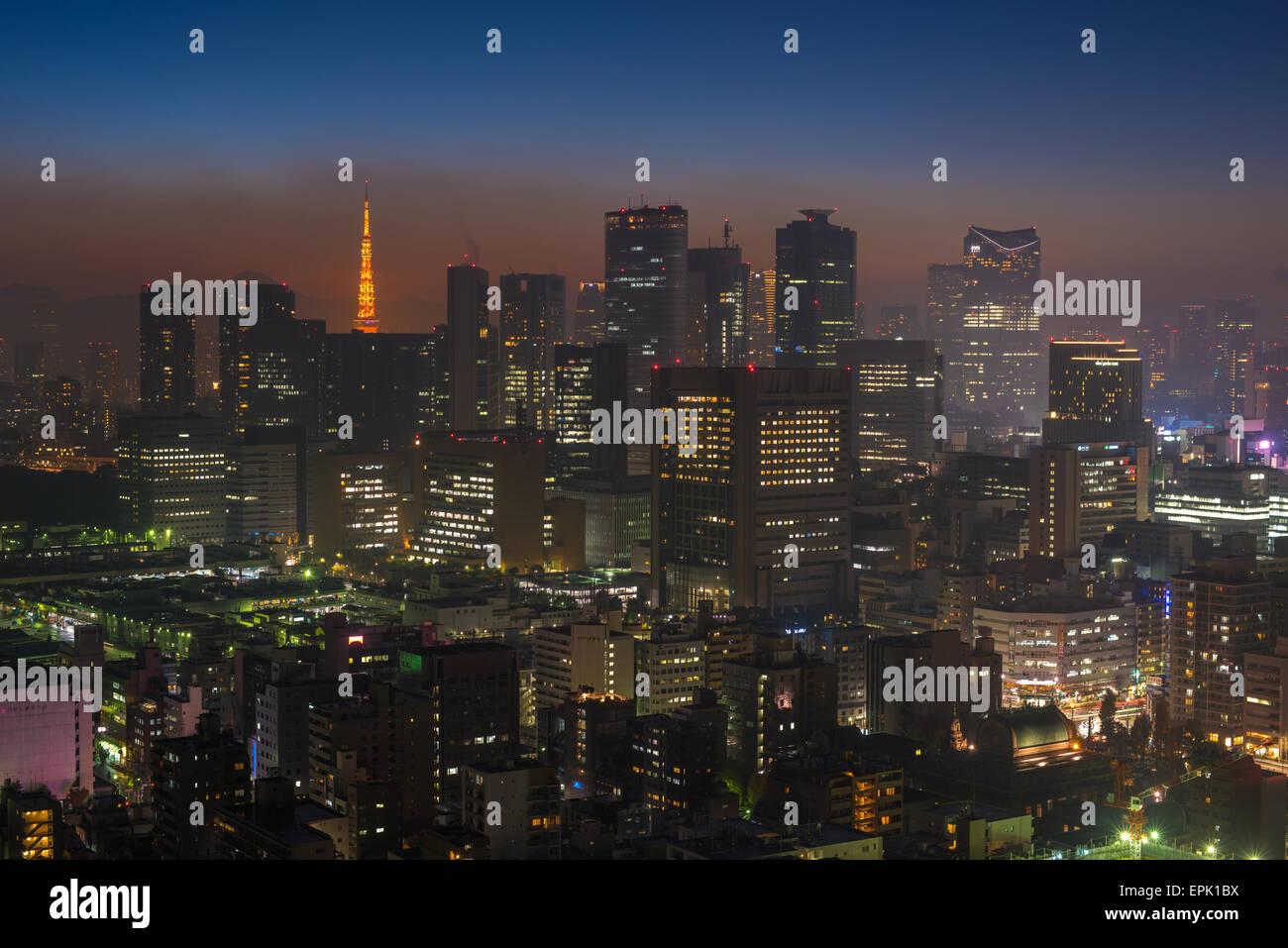 Tokyo night scene, panoramic view Stock Photo
