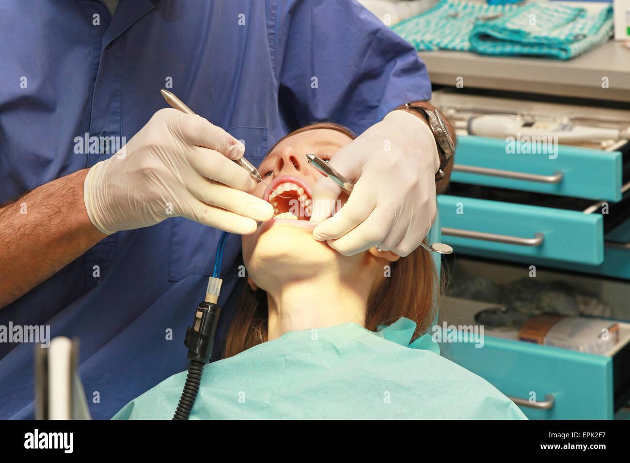 Examination dentist - Stock Image