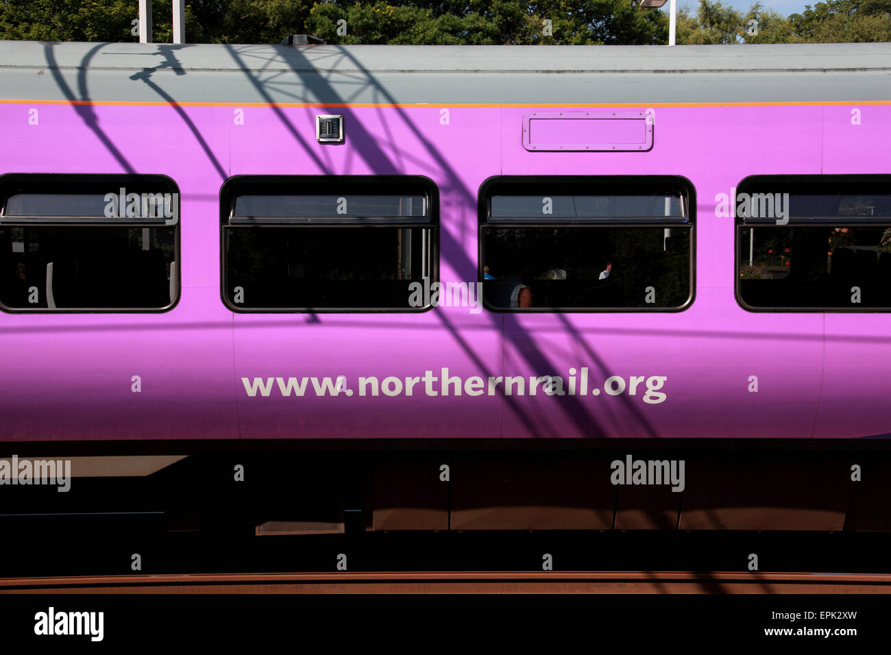 The carriage of a Northern Rail train at Kidsgrove near Stoke on Trent, Staffordshire - Stock Image