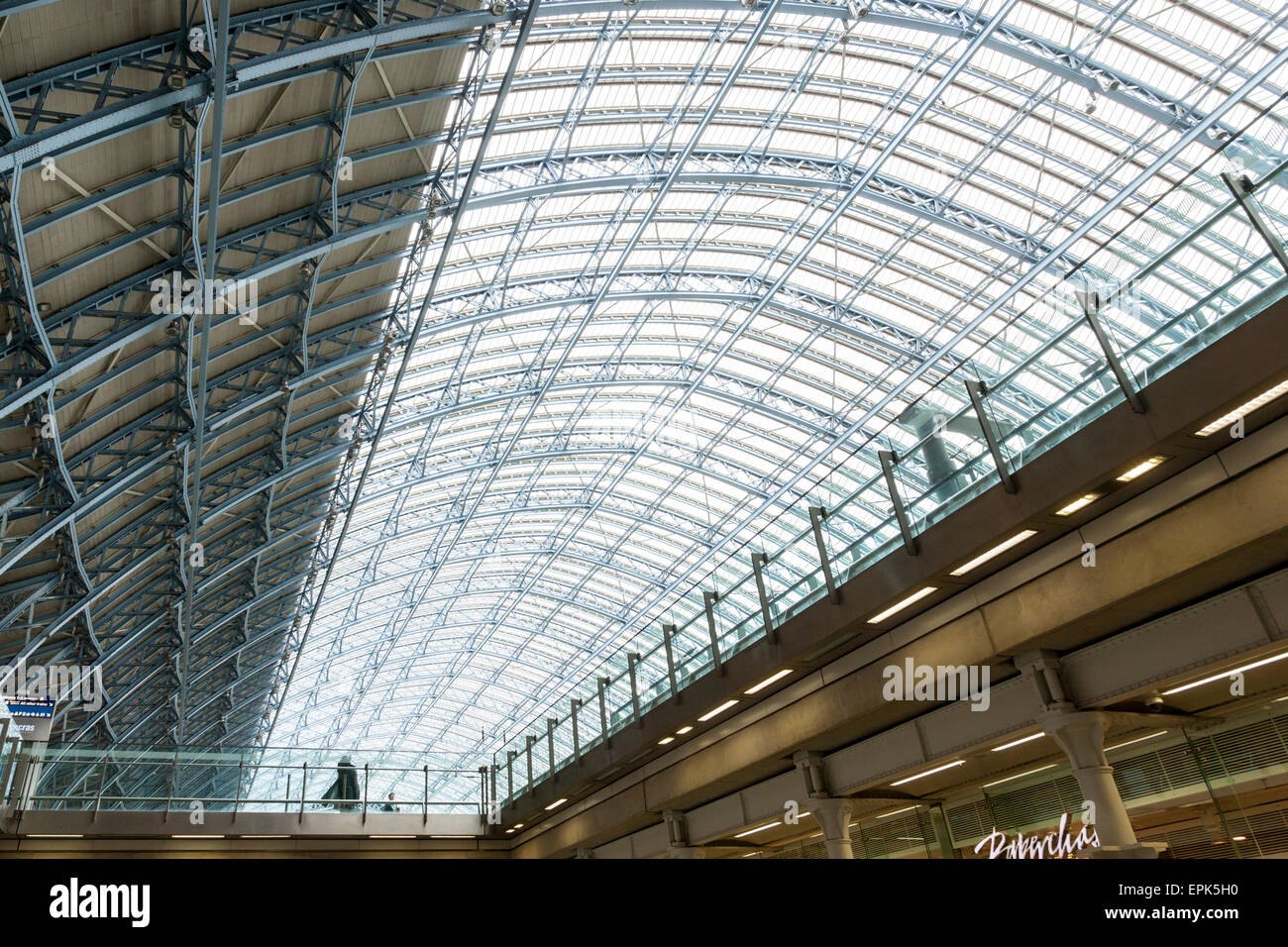The curved glass roof of St Pancras Station, London, England, UK - Stock Image
