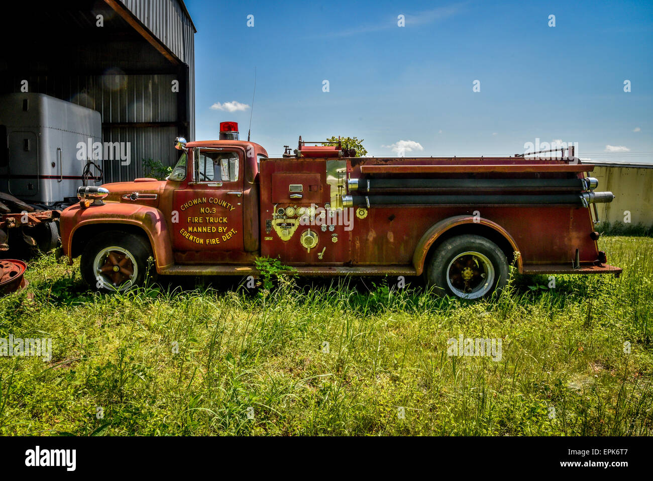 Collection Of Old Trucks In A Truck Junkyard Stock Photos ...