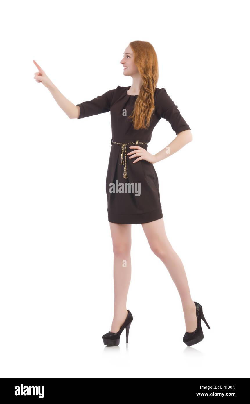 Woman pressing virtual button isolated on white Stock Photo