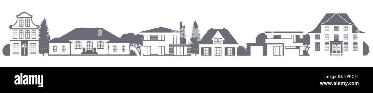 a vector variety of homes in different architectural styles - Stock Image