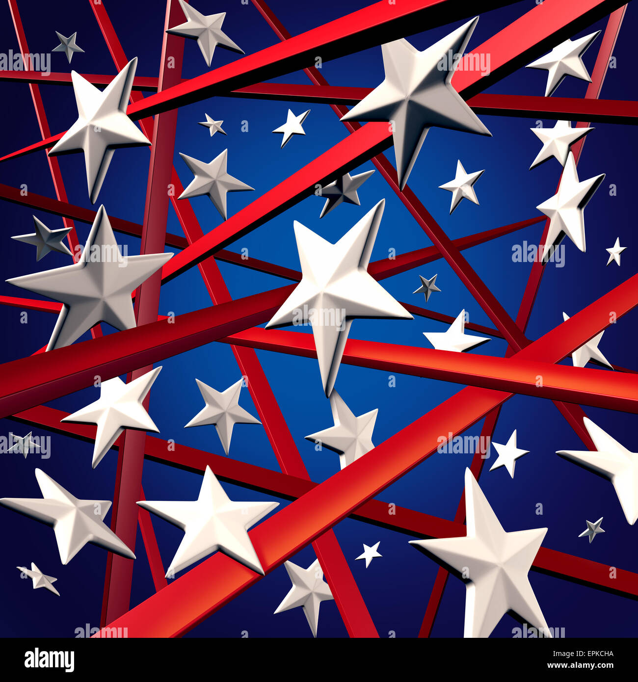 American stars and stripes and United States three dimenaional flag background design element with red white and - Stock Image