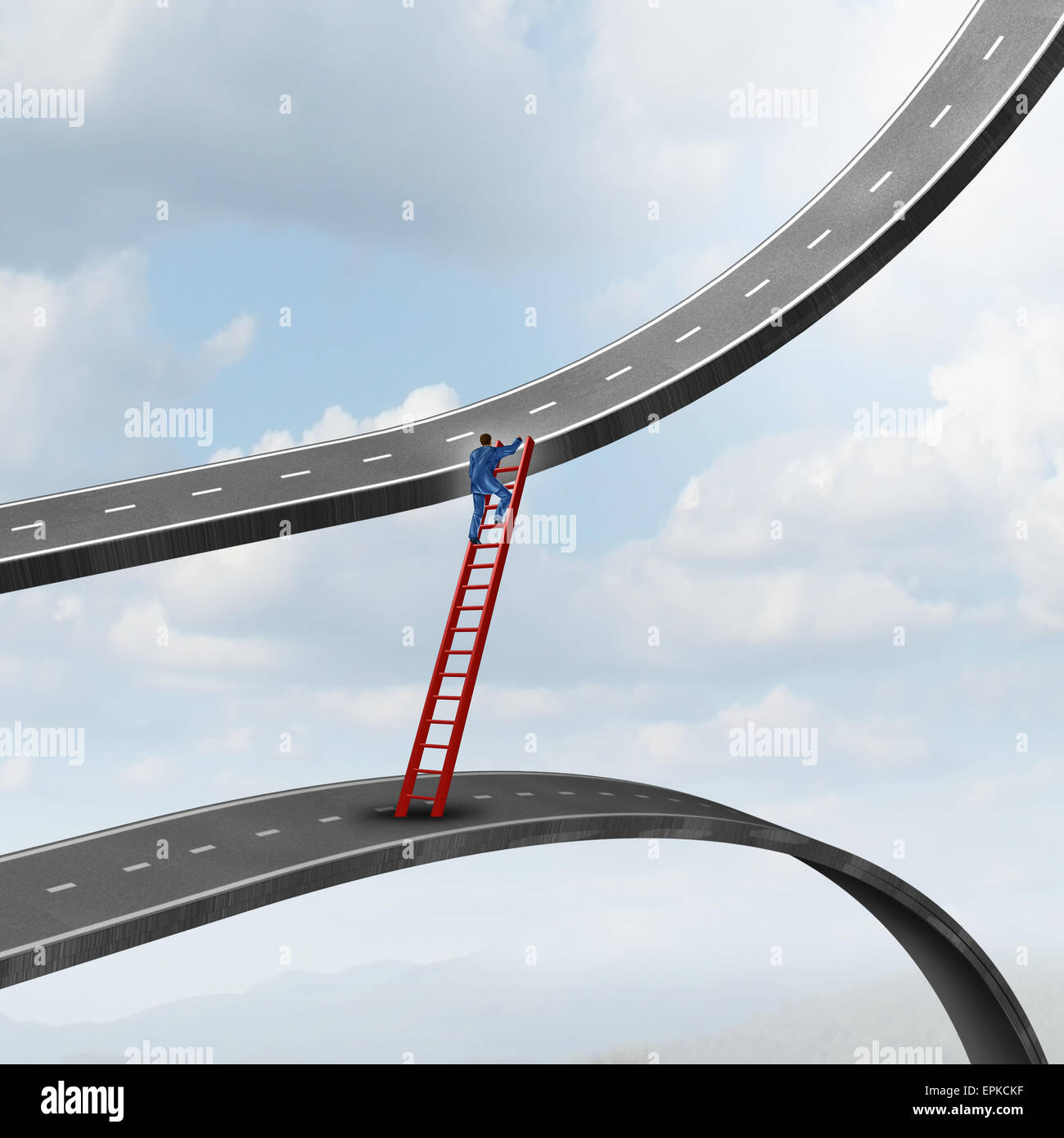 Career move business concept as a businessman climbing a ladder of success away from a road going down to a path - Stock Image